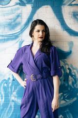 Simon (NolaChick) Tags: urban art vintage graffiti purple neworleans pale retro 80s heels redlips spraypaint nola boombox brunette pinup jumpsuit scottsimon exhibitbe nolachick mariellesongy