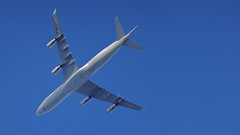 an Airbus A340-13 in my sky (Franck Zumella) Tags: aircraft avion blue sky ciel bleu a340 airbus flying cdg charles de gaulle airport a343 airfrance