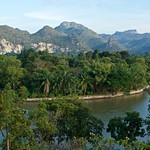 River Kwae Noi with mountains seen from Wat Tham Khao Phun in Kanchanaburi province, Thailand thumbnail