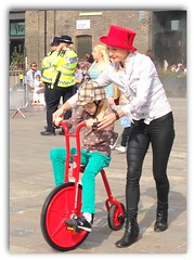 Police have received reports about back seat drivers! (The Stig 2009) Tags: thestig2009 thestig stig 2009 2017 tony o tonyo penny farthing mini miniature kids childrens bike red top hat kings cross london met police metropolitian