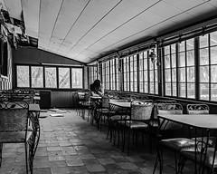 This Winter Heart is Cracking (sadandbeautiful (Sarah)) Tags: me woman female self selfportrait abandoned bw porch restaurant