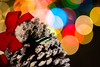 Christmas Decor (rvsunphotography) Tags: christmas newyear pinetree pinecone lights bokeh family love jesus christ ribbon redribbon snow letitsnow skiing mammoth laketahoe chestnuts 85mm f14