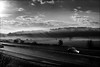 Brume (vedebe) Tags: noiretblanc netb nb bw monochrome voitures autoroute route brume rayons brouillard paysages