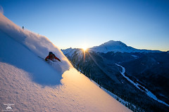 Sunset Powder (Jason Hummel Photography) Tags: mountrainiernationalpark mountrainier rainier powder carlsimpson skiing ski pacificnorthwest volcano sunset alpenglow sunburst sunstar snow winter washingtonstate cascademountains mountains