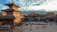 Time-lapse of dusk at Taumadhi square in Bhaktapur, Nepal. (ChrisDortch) Tags: valley ancient antique architecture asia asian bhadgaon bhairavnath bhaktapur blue blur blurred blurry buddhism building city clouds culture dusk evening hindu hinduism holy kathmandu khwopa landmark lapse nepal old pagoda pedestrians people plaza red religion roof site sky square sunny sunset taumadhi temple time timelapse tourists town travel twilight