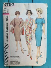 Simplicity 3793 (kittee) Tags: kittee vintagesewing vintagepatterns 3793 simplicity simplicity3793 1960s nodate madmen stole dress proportioned sheath pleat ribbonbelt squareneckline shoulderbows shortsleeves sleeveless shawl miss size14 bust34 wouldsell wouldtrade scarf sewing sewingpattern vintage pattern