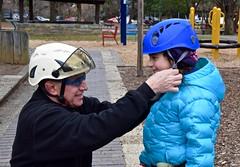 Girl in blue jacket and arborist puts on helmet 2 (Montgomery Parks, MNCPPC) Tags: treeclimbing woodsidepark january2017 2017