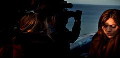 Press Corps by the Sea (Owen J Fitzpatrick) Tags: ojf people photography nikon fitzpatrick owen j joe pretty chasing d3100 ireland editorial use only ojfitzpatrick eire dublin republic city tamron unposed social beauty beautiful attractive woman female face candid candidphotography candidphoto natural video camera press shoulder visage golden hour sunshine blonde man photographer coast sea horizon ocean corps rua red redhead hair pavement