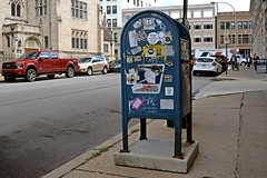 Mailbox on Baum Blvd. (SchuminWeb) Tags: schuminweb ben schumin web october 2016 pennsylvania pa pittsburgh allegheny county city east liberty eastliberty mailbox mail box blue usps united states postal service unitedstatespostalservice sticker stickers money cash clothes daily bread free burgh gold bolus overcast