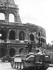 A column of Panthers from I.Abteilung/Panzer-Regiment 4 approaching the Colosseum on the Via dei Fori Imperiali in February 1944. III./Pz.Rgt.4 was converted to a Panther Abt. with four Kompanies on 5 May 1943. On 19 October 1943, it was renamed I./Pz.Rgt.4 after I./Pz.Rgt.4 was transferred to form schwere Panzer-Abteilung 507, and sent to Italy in early February 1944 with 76 Panthers