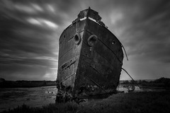 Home of the Excelsior (Explored) (*ScottyO*) Tags: longexposure sky blackandwhite bw history clouds boat rust iron ship outdoor decay australia mangrove bow swamp adelaide historical southaustralia steamer excelsior portadelaide muttoncove