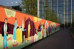 Modern Helsinki (hoarding / mural). May 2015 (wwwuppertal) Tags: city architecture suomi finland evening abend helsinki mural finnland may hoarding mai stadt architektur dämmerung nordeuropa wandbild wandmalerei northerneurope bauzaun sigmaaf30mmf28exdn sonyalpha5000 sonyilce5000