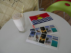 In the only modern, clean cafe in Tarawa we  postcards, sick milkshakes and aircon.