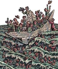 Good News, Bad News (Lisa Haney) Tags: latino journalism newspapers boat journalists scratchboard lisahaney scraperboard illustration