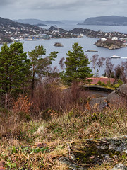 """View from Kvarven Fort"" (Terje Helberg Photography) Tags: kvarven cloudscape color fort landscape landskap natur nature scenery seascape skyscape view viewpoint ww2 norway hordaland bergen samsung nx30 nx trees sea mountains boat grass"