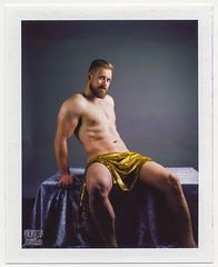 Midas Polaroid (new website online!  check link below) (WF portraits) Tags: cze studio male model man portrait midas gold polaroid naked nude 600se fp100c muscles fit gym chest hairy beard