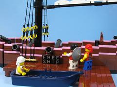 Free Ship (dr_spock_888) Tags: lego moc pirate ship sloop rowboat