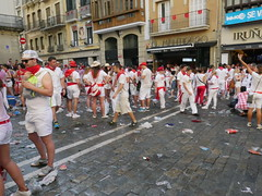 Partys are all day/all night in Pamplona during the fiesta.