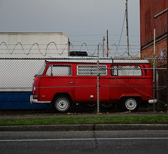 parked (dotintime) Tags: red vw bus van retired parked stored waiting fence wire back lot wheels rescue redo rehabilitate volkswagen dotintime meganlane