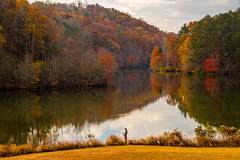 Lone Fisherman (Jon Ariel) Tags: gwinnett fall gwinnettcounty lake littlemulberrypark reflection autumn georgia ga