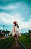 Mơ on the rail (Sài Gòn - 01665 374 974) Tags: art light clouds winter street rail train city people new vietnam fuji lady girl beauty dof bokeh depthoffield asia cute pretty sunlight hat 35mm flickr day fujifilm daytime field
