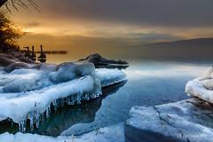 Ambiance nordique sur le Lac de Neuchâtel (Switzerland) (christian.rey) Tags: cheyres lac lacdeneuchâtel neuenburgersee see nuchâtel hiver glaces gelé coucher soleil sunset winter sony alpha 77 tokina 1116