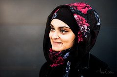 Jamilah - Portrait of a stranger (Vijay Britto Photography) Tags: blue hijab beautifullady 100strangers portraits naturallight outdoorportraits eyes dark nikon d750 85mm smile intense