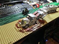 DORA's WW2 diorama update: dirty road (ravescat) Tags: ww2 dora lego moc diorama germa sdkfz opel blitz crater road