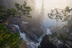 Cascade Falls in Fog (Michael Bandy) Tags: fog mist yosemite nationalpark cascadefalls waterfalls creek landscape nature trees california morning waterfall cascades sun