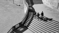 (jen.ivana) Tags: stairs staircase stairway stair bw black white monochrome shadow people man bench seat stone step park historic france