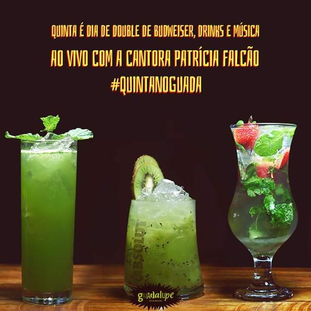Nesta Quinta-feira PATRYCIA FALCÃO 🔜MPB🔝POP ROCK🎼🎤👌➕Double de Drinks ➕Diversão 💯🍺🍴👨👨👧👦🎸