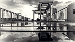 After the Storm (skippys1229) Tags: wood blackandwhite bw reflection monochrome rain architecture clouds canon buildings reflections concrete blackwhite dock miami columns wideangle miamibeach puddles railings southbeach southflorida hss 2015 ultrawideangle blackandwhiteconversion 70d southpointepark canon70d sliderssunday canonefs1018mm