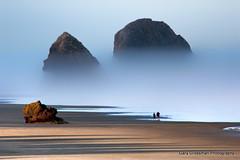 Daybreak (Gary Grossman) Tags: ocean seascape beach fog oregon sunrise landscape dawn pacific walk pacificocean pacificnorthwest fatherandson cannonbeach pacificcoast daybreak seastack oregonislandsnationalwildliferefuge garygrossmanphotography