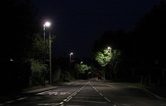 LED street lighting; good or bad? (Lady Wulfrun) Tags: road lighting street nottingham trees light night nc streetlight streetlights columns led foliage nightlight column source nottinghamshire whitelight trowell streetlighting spacing whitelines notts stapleford