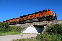 A BNSF Gevo leads an EB intermodal over a piece of SF history just east of Ransom IL on the BNSF Chillicothe Subdivision. This bridge was originally built in 1905! 8/7/15 (AdamElias14) Tags: santafe bnsf bnsfchillicothesub bnsftranscon ransomillinois