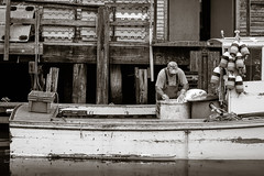 lobsterman.jpg (dwoodpics) Tags: water portland blackwhite fishing dock waterfront maine coastal wharf daytime pilings nautical lobsterbuoy lobstering lobsterman commercialboat