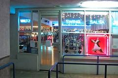 Pink Dancers (AntyDiluvian) Tags: california pink red sign shop night la store losangeles mainstreet santamonica eyecatcher dancestudio