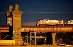 PW GE B39-8E 3905 Hell Gate Bridge 042715 (Dennis A. Livesey) Tags: bridge light urban usa newyork amtrak pw