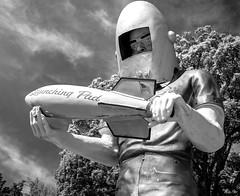 rocket man... (Stu Bo) Tags: rocketman landmark bigguy statue retro space lookup blackandwhite bw oldschool oneofakind canon photography sbimageworks shadows light vintage icon launchingpad