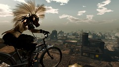 On the Road...Oh What a Day..What a Lovely Day (tralala.loordes) Tags: wastelands tralala loordes junkyard postapocalyptic bike rare black skull remarkable oblivion gas mask horns cherubim windlight