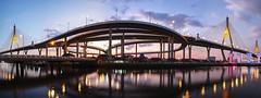 Bhumibol Bridge (fredMin) Tags: fantastic bridge bhumibol bangkok panorama architecture sunset travel long exposure fujifilm xt1