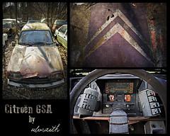 GSA Triptych (Ulvraith) Tags: old car rusty abandoned citroen gsa french triptych sony a500 poland
