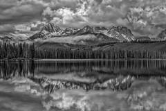 Moody Mountain Mono (Philip Kuntz) Tags: bw blackandwhite mono monochrome sawtooths littleredfishlake mtheyburn horstmannpeak stormy reflections stanley idaho