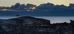 ...cloud curtain... (jamesmerecki) Tags: rye nh newhampshire sunrise earlymorning dawn clouds cloudbank horizon light streak seacoast seascape portsmouthharbor ocean coastline atlantic rocks rocky sea shore landscape beach coast sky winter newengland