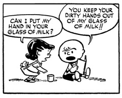 You keep your dirty hands out of my glass of milk!! (Tom Simpson) Tags: peanuts charliebrown comics illustration milk lucyvanpelt 1952 1950s charlesschulz charlesmschulz vintage