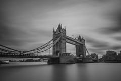 Tower Bridge (russellcram) Tags: nikon d750 london tower bridge long exposure le black white bw river thames clouds water