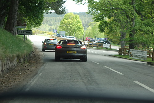 Boxster on North Deeside road Crathie