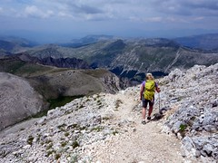 "Descending from the summit of Monte Velino, with Vallone di Teve below • <a style=""font-size:0.8em;"" href=""http://www.flickr.com/photos/41849531@N04/19128512413/"" target=""_blank"">View on Flickr</a>"