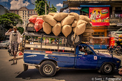 Overloaded (Sven Wildschut) Tags: life travel people money streets car asia myanmar trade sven bussy mandalay overloaded reizen azië 2014 fida svenfidanl svenfotografienl