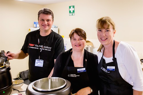 Ian, Alison and Johnese serving soup and TEDxYouth@Bunbury